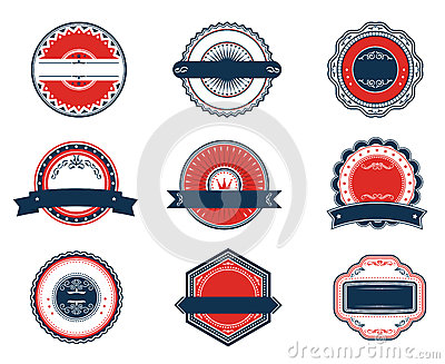 Retro blue and red labels set
