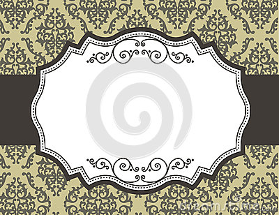 Retro border / frame with damask pattern