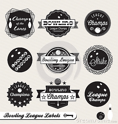 Retro Bowling League Labels and Stickers