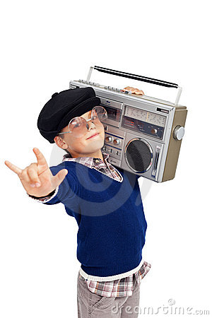 Retro boy with portable cassette player