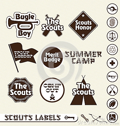 Retro Boy Scout Labels and Stickers