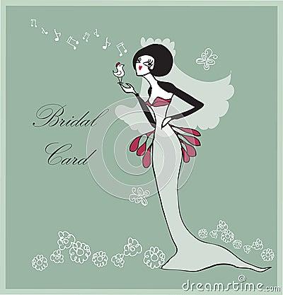Retro Bridal wedding flowers card