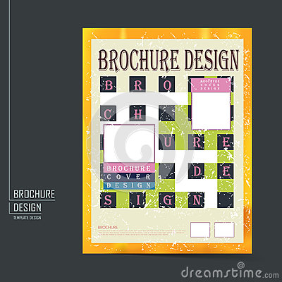 Retro Brochure Template Design Stock Vector  Image