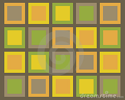 Retro brown, green, orange and yellow squares back