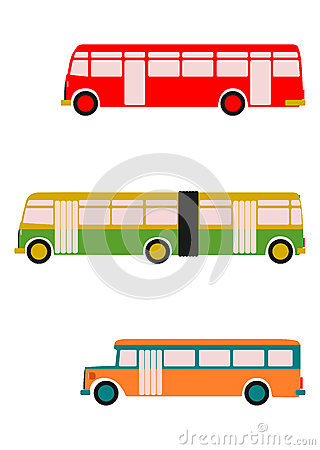 Retro bus set.