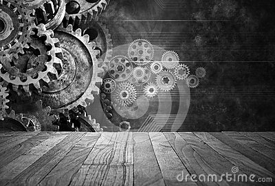 Retro Business Cogs Technology Background Stock Photo