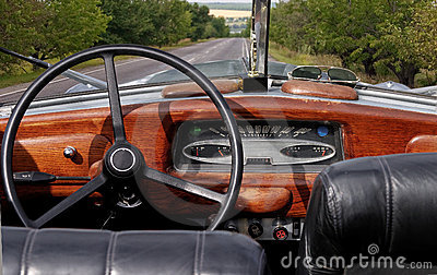 Retro cabrio car cockpit