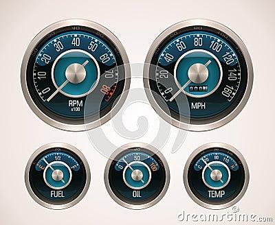 Retro calibri di automobile di vettore
