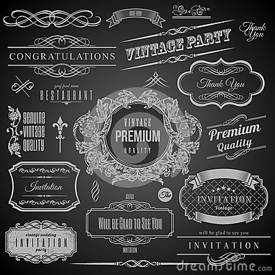 Free Retro Calligraphic Design Elements. Invitation Frame. Collection Of Frames And Decorative Vector Elements Royalty Free Stock Photo - 45386845