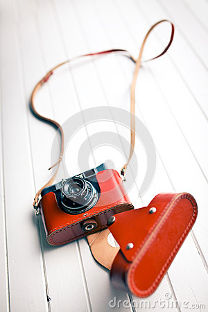 Retro camera in leather case