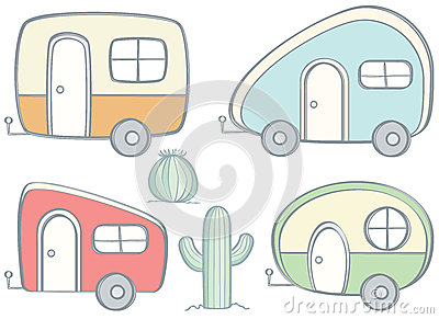 Retro Campers Vector Illustration