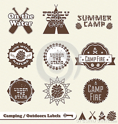 Free Retro Camping Labels And Stickers Royalty Free Stock Image - 27097866