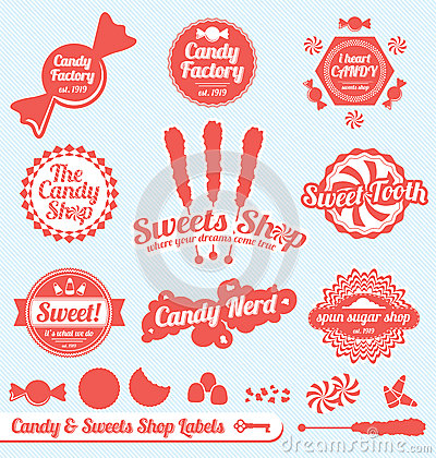 Retro Candy Shop Labels and Stickers