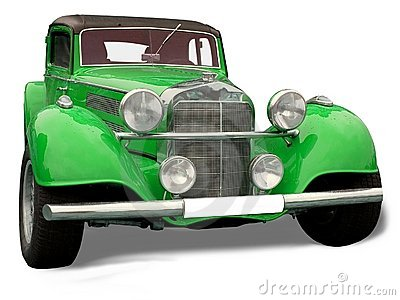 Retro car - green Mercedes