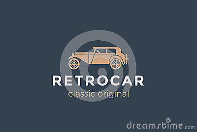 Retro Car Logo vector. Vintage Classic Vehicle Vector Illustration