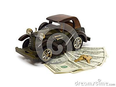Retro car, money and keys