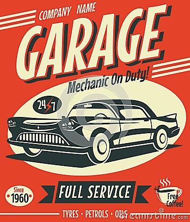 Retro car service sign