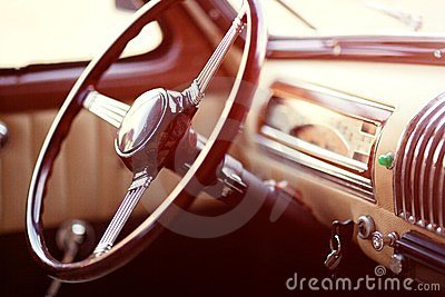 Retro car steering wheel