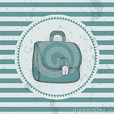 Retro card with briefcase
