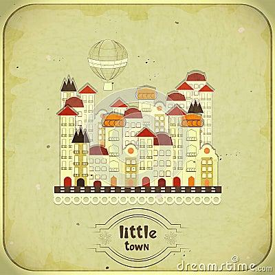 Retro card - cartoon little town