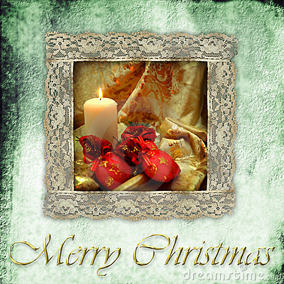 Free Retro Card Christmas Candle And Gifts Stock Photo - 21866000