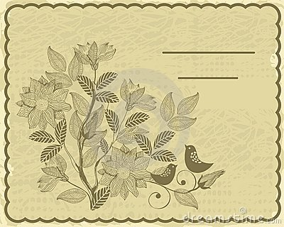 Retro card with flower and birds in vector