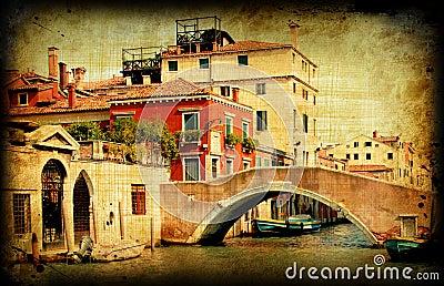 Retro card, old italian Venice