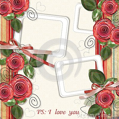 Retro card with roses for congratulations