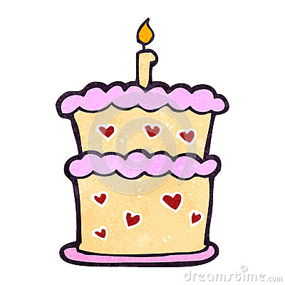 Retro Cartoon Birthday Cake Royalty Free Stock Photo