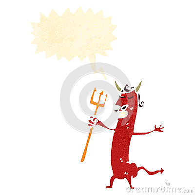 retro cartoon devil with pitch fork