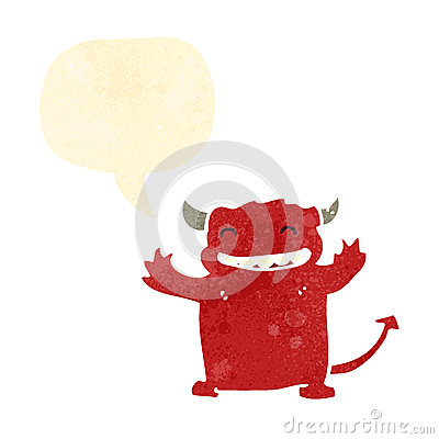 retro cartoon little devil smiling