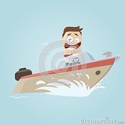 Retro cartoon man on a boat