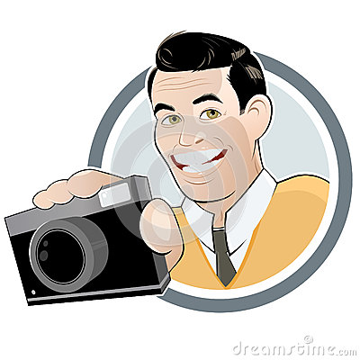 Retro cartoon man with camera