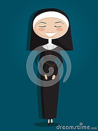 Retro cartoon nun