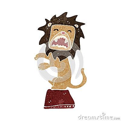 retro cartoon performing lion