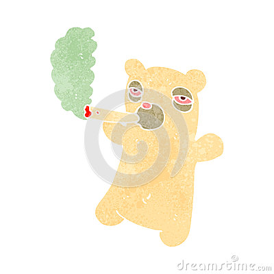 Retro Cartoon Polar Bear Smoking Marijuana Joint Stock Photos - Image