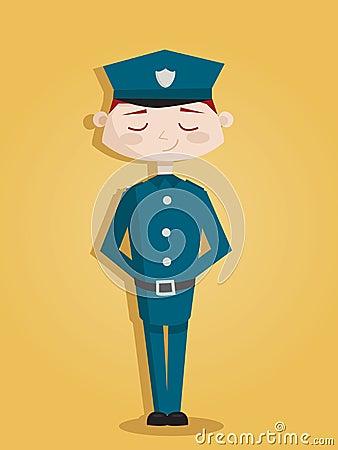 Retro cartoon policeman Vector Illustration