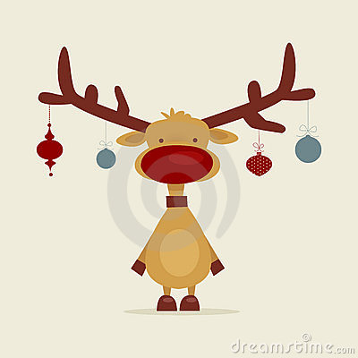 Retro cartoon reindeer