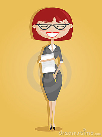 Retro cartoon secretary