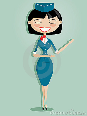 Retro cartoon stewardess Vector Illustration