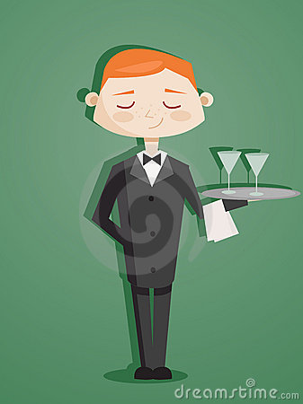 Retro cartoon waiter Vector Illustration