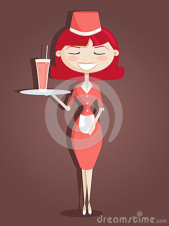 Retro cartoon waitress
