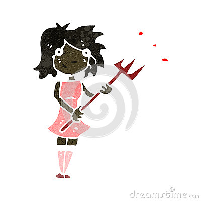 retro cartoon woman with devil fork