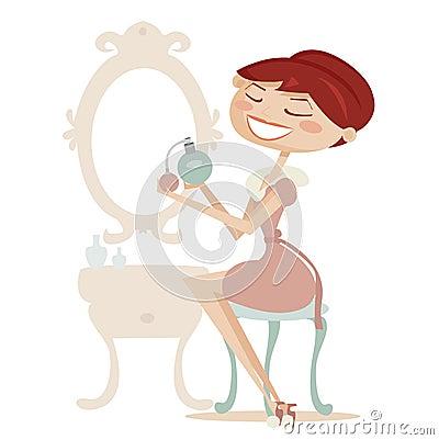 Retro cartoon woman with perfume isolated
