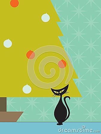 Free Retro Cat Christmas Tree Stock Photo - 3427230
