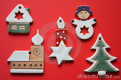 Retro ceramic christmas decorations