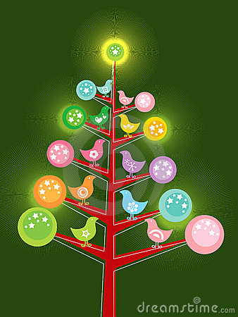 Retro chicks christmas tree