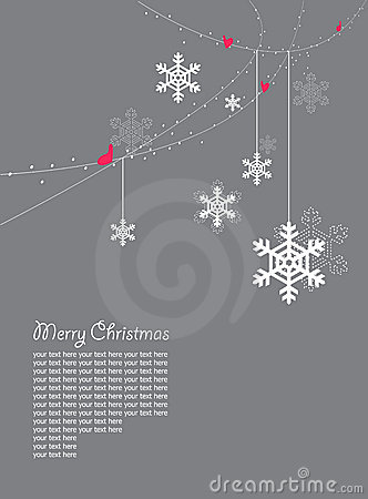 snowflakes and hearts christmas card