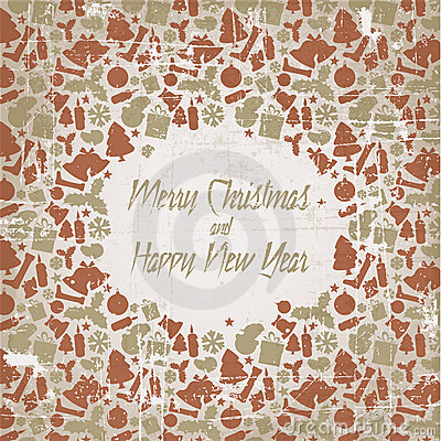 Retro christmas  card with seasonal pattern