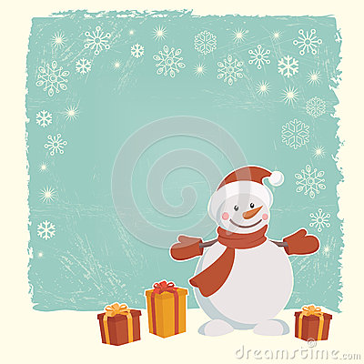 Retro Christmas card with snowman